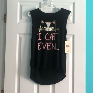 Eye Shadow Sleeveless Cat Shirt